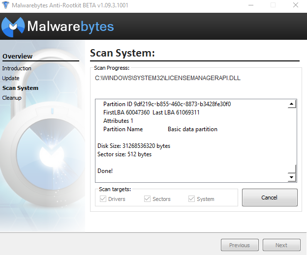 Malwarebytes anti-rootkit test